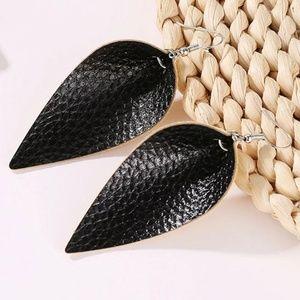 Vegan Leather Light Weight Leaf Teardrop Earrings